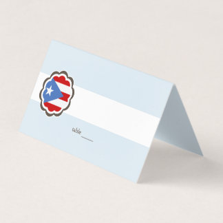 Flower Party, Puerto Rican Flag Place Card