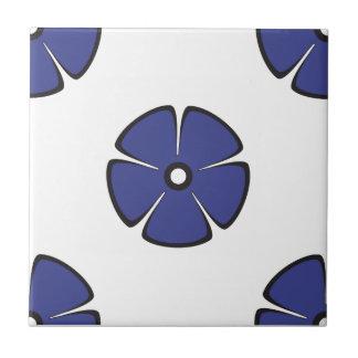 Flower Pattern 2 Royal Blue Small Square Tile