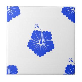 Flower Pattern 3 Blue Ceramic Tile