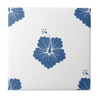 Flower Pattern 3 Bright Cobalt Ceramic Tile