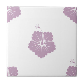 Flower Pattern 3 Mauve Mist Ceramic Tile