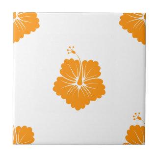 Flower Pattern 3 Orange Ceramic Tile