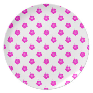 Flower Pattern 3 Pink Party Plates