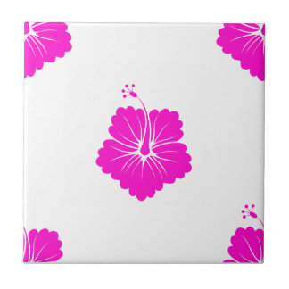 Flower Pattern 3 Pink Ceramic Tile