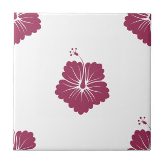 Flower Pattern 3 Sangria Ceramic Tile