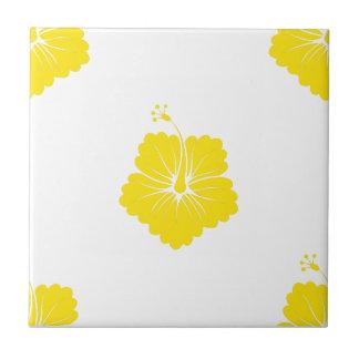 Flower Pattern 3 Yellow Ceramic Tile
