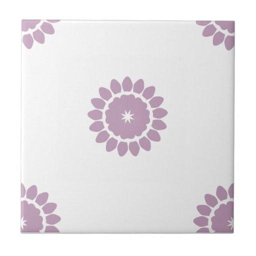 Flower Pattern 4 Mauve Mist Ceramic Tile