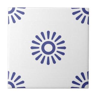Flower Pattern 6 Royal Blue Small Square Tile