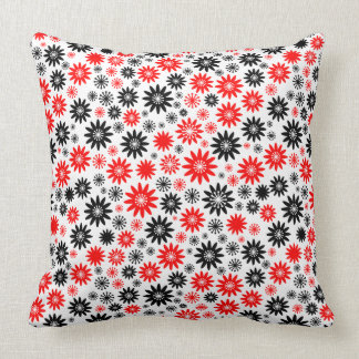 Flower Pattern - Black with Red and White Cushions