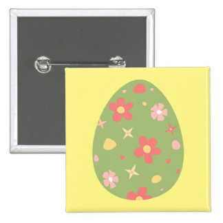 Flower Pattern Easter Egg Butto 15 Cm Square Badge