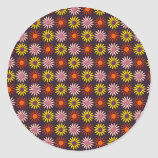 Flower Pattern in Maroon Tones and Background Round Stickers