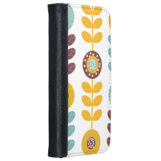 Flower Pattern In Orange And Teal iPhone 6 Wallet Case