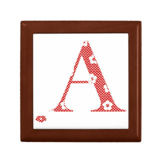 Flower Pattern Letter A (red) Small Square Gift Box