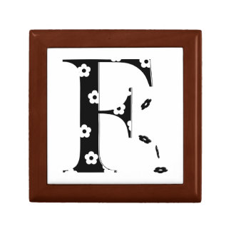 Flower Pattern Letter F Small Square Gift Box