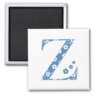 Flower Pattern Letter Z (blue) Square Magnet