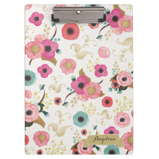 Flower Pattern Modern Personalized Clip board