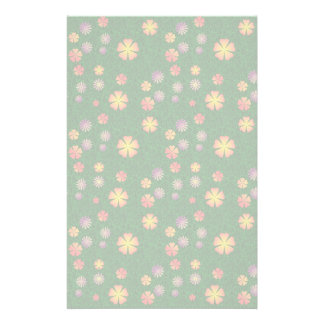 Flower pattern on green grass customized stationery