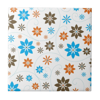 Flower Pattern Small Square Tile