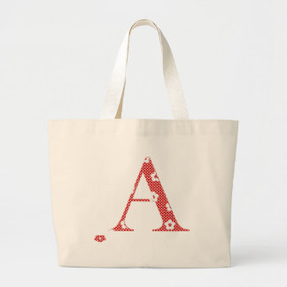 flower Patterned Letter A (red & dots) Large Tote Bag