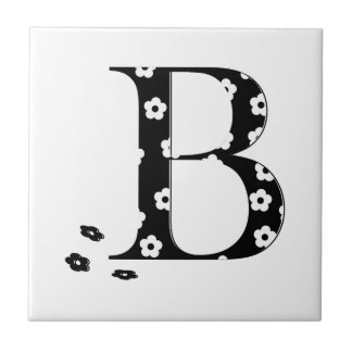 flower Patterned Letter B Small Square Tile