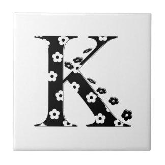 flower Patterned Letter K Small Square Tile