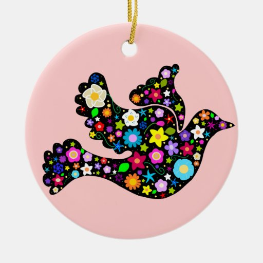 Flower Peace Dove ornament
