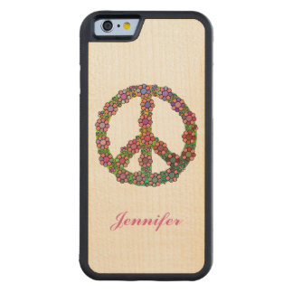 Flower Peace Sign Symbol Personalized Carved Maple iPhone 6 Bumper Case