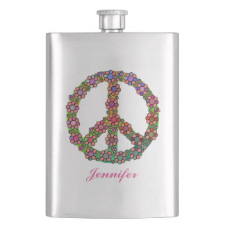 Flower Peace Sign Symbol Personalized Hip Flask