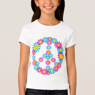 Flower Peace Sign w/Smiley Faces Tee Shirts