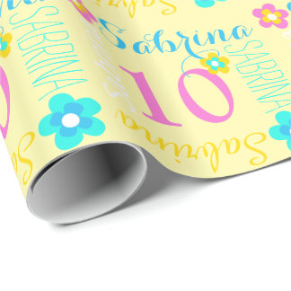 Flower personalized name age 10th birthday wrap wrapping paper