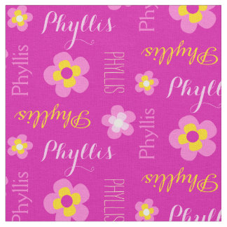 Flower personalized name pink typographic fabric
