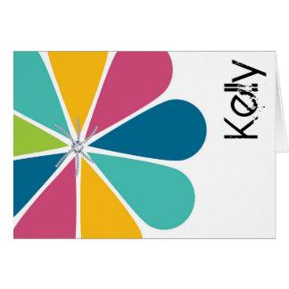 Flower Petal Modern Diamond Personalized Notecard