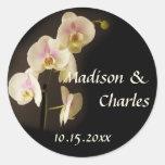 Flower phalaenopsis orchid wedding favour label round sticker