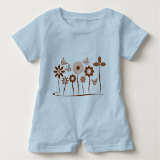 Flower picture baby bodysuit