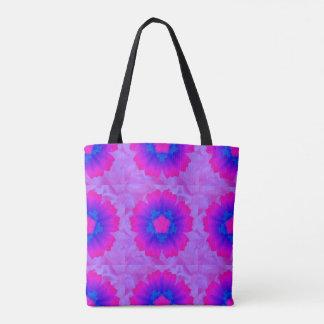 Flower pink blue purple backround tiles Art 1 Tote Bag