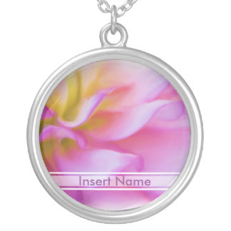 Flower Pink Dahlia Silver Plated Necklace