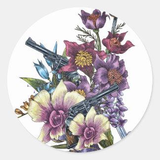 Flower Pistol Guns Design Classic Round Sticker