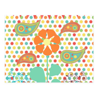 Flower Polka Dots Paisley Spring Whimsical Gifts Postcard