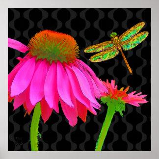Flower Pop, floral Pop Art Echinacea, dragonfly Poster