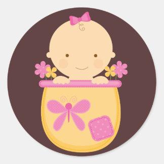 Flower Pot Baby Envelope Seals Round Sticker