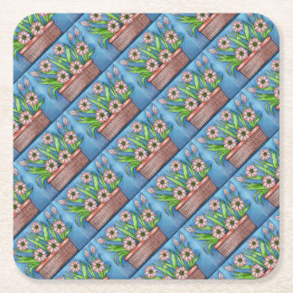 Flower Pot Color Square Paper Coaster