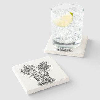 Flower Pot Doodle art Stone Beverage Coaster
