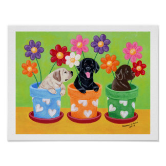 Flower Pot Labrador Puppies Artwork Poster