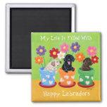 Flower Pot Labrador Puppies Square Magnet