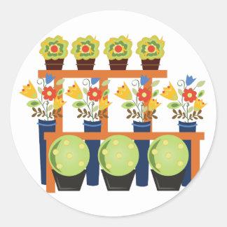 Flower Pots Round Sticker