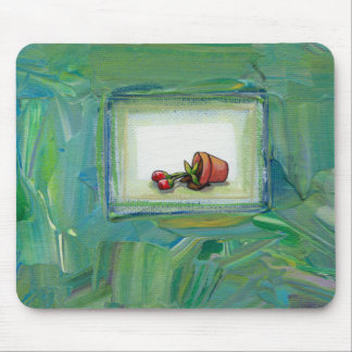 Flower potted plant gardening painting art fallen mouse pad