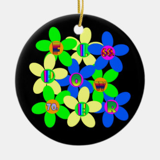 Flower Power 60s-70s Ceramic Ornament