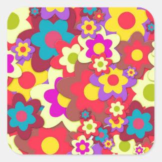 Flower Power 60s hippy Square Sticker