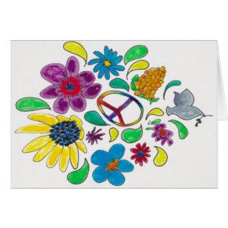 flower power '60's peace symbols card