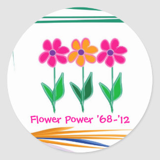 Flower Power '68 - '12 Round Sticker